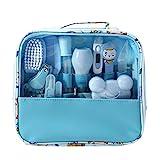 Mentin Baby Pflegeset | 13-teiliges Baby Pflege Produkte | Baby Pflegeset Erstausstattung | Nagel und Nasen Pflege mit Tasche mit Handtasche (Blau)