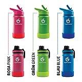 hydro2go  Edelstahl Trinkflasche KidsBottle - 350ml | BPA-freie Wasserflasche für Kinder + 2 Trinkverschlüsse | Auslaufsichere Isolierflasche BPA-frei | doppelwandige Trinkflasche
