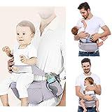 Viedouce Baby Hüftsitz Ergonomische mit Sicherheitsgurt Schutz,Reine Baumwolle Leicht und atmungsaktiv,Ergonomischer Leichte Taille Hocker Baby Hüftsitz für 3-48 Monate (Grau)