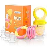 NatureBond Baby Fruit Feeder Babynahrung Nahrungsmittelzufuhr / Fruchtsauger Schnuller (2 Stück) - Baby Beißring in appetitanregenden Farben   Inklusive Bonus Silikon-Nippel (alle Größen)