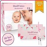 MediVinius Ovulationstest 50 Streifen mit 25 mIU/ml - Fruchtbarkeitstest für Frauen - Teststäbchen für Ovulation Tests - Eisprung Teststreifen - praktisches Eisprung Messgerät - LH Teststreifen