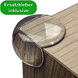 Geprüfter Eckenschutz und Kantenschutz von maliveo - transparent aus Kunststoff für Tisch- und Möbel-Ecken - Stoßschutz für Baby's und Kinder (12 Stück, Rund)