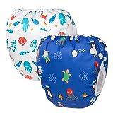 HBselect Baby Schwimmwindeln Kinder Schwimmhose wiederverwendbare wasserdichte Windeln Badewindelhose Badehose verstellbare Größe für 0-36 Monate