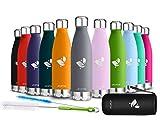 AORIN Vakuum-Isolierte Trinkflasche aus Hochwertigem Edelstahl - 24 Std Kühlen & 12 Std Warmhalten Pulverlackierung Kratzfestigkeit Leicht zu reinigen. (grau- 500ml)