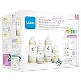 MAM Easy Start Anti-Colic Babyflaschen Set, mitwachsende Baby Erstausstattung mit Schnuller, Flaschen etc., Baby Geschenk Set, ab Geburt, Tiere, beige