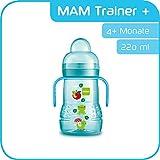MAM Trainer+ (220 ml), Trinklernflasche für den Übergang zum Becher, auslaufsicherer Trinklernbecher mit tropffreiem Sauger, Trinkschnabel & Haltegriff, 4+ Monate, Tiermotiv, blau