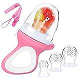 DIAOCARE Fruchtsauger,Silikon Sauger in 3 Größen und Schnullerband,BPA-frei,Schnuller Beißringe für Obst Gemüse Brei Beikost,Fruchtsauger für Baby & Kleinkind (Pink)