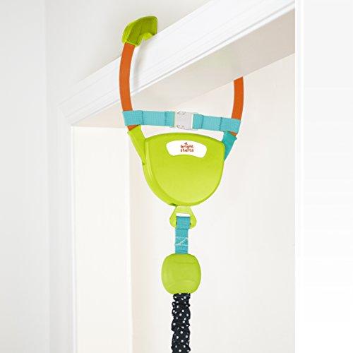 Bright Starts Deluxe Türhopser mit sicherer und stabiler Türrahmenklemme, gepolstertem und maschinenwaschbarem Sitz sowie 4 Spielzeugen, leicht zu transportieren