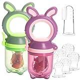 2 Fruchtsauger Baby Häschen + 6 Silikon-Sauger in 3 Größen + 1 Baby-Zahnbürste - BPA-frei Schnuller Beißring für Obst Gemüse Brei Beikost
