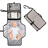 Hommie Wickelunterlage für Unterwegs mit Abnehmbarer und Abwischbarer Matte, Wasserdichte, Tragbare und Faltbare Windelmatte für Baby auf Reise, Grau