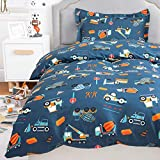 Bedsure Bettwäsche Kinder 100x135 Kinderbettwäsche jungen 100 x 135 cm, Bettwäsche Bagger Muster mit 40x60 cm Kissenbezug, Baustelle Baby Bettwäsche Set aus Mikrofaser