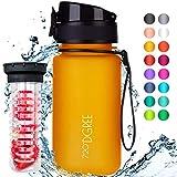 """720°DGREE Trinkflasche """"uberBottle"""" – 350 ml, 0,35 l, Gelb - Neuartige Tritan Wasser-Flasche - Water Bottle BPA Frei - Ideale Sportflasche für Kinder, Fitness, Fahrrad, Sport, Fussball"""