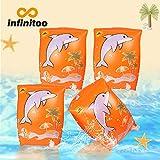 infinitoo 2er Pack Schwimmflügel Kinder, Schwimmhilfe Schwimmen Armbands mit Delphin Design für Kinder ab 3 Jahre, 15-30kg, Schwimmreifen Schwimmscheiben für Schwimmbad, Pool, Strand etc.