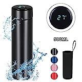 Flintronic Thermosflasche, (500ml) Wasserflasche Vakuum Isolierbecher 304 Edelstahl, LCD-Touchscreen-Temperaturanzeige, Smart Becher Dichtflasche Ideal für Hitze und Kälte - Schwarz (Kein Filter)