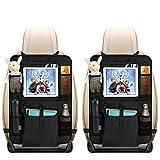 Auto Rückenlehnenschutz, opamoo 2 Stück Auto Rücksitz Organizer für Kinder, Große Taschen und iPad-/Tablet-Fach, Wasserdicht Autositzschoner, Kick-Matten-Schutz für Autositz (2x64x43 cm)