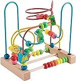 Jacootoys Motorikschleife aus Holz Tier Holzspielzeug mit DREI verschiedenen Schleifen Roller Coaster Motorik Maze Spielzeug für Kinder