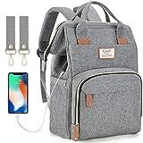 Baby Wickelrucksack Wickeltasche mit USB-Ladeanschluss und 2 Kinderwagengurten Multifunktional Große Kapazität Babytasche Reisetasche für Unterwegs (Grau)