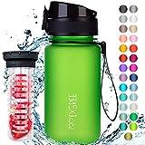 """720°DGREE Kinder Trinkflasche """"uberBottle"""" softTouch - 350ml - Auslaufsicher, BPA-Frei, Für Schule, Kindergarten, Mädchen & Jungs ab 3 Jahre - Kleine Wasserflasche, Leicht Bruchsicher +Früchtebehälter"""