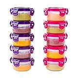 Elacra Aufbewahrungsdosen für Babynahrung, Frischhaltedosen, klein, Kunststoff, 100 ml, Set mit 10 Stück, Rosa und Violett
