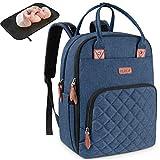 Baby Wickelrucksack Multifunktional Wickeltasche Rucksack mit Wickelunterlage Große Kapazität babytasche wickeltasche Reisetasche für Unterwegs Passform für Kinderwage Blau