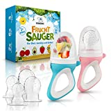 EISBÄRG ® Fruchtsauger [2er] Set für Baby & Kleinkind - Fruchtschnuller Beißring (blau + rosa) – BPA-frei - für Obst und Gemüse mit ergonomischem Griff