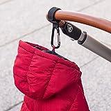 2er Pack Kinderwagenhaken | Kinderwagen Haken | Taschenhalter | Befestigungshaken Für Wickeltasche, Einkaufstasche | Karabiner mit Klettverschluss | Kinderwagenbefestigung | Stroller hooks