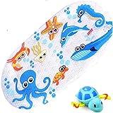 iSagax Badewannenmatte Kinder Badewanneneinlage Baby Bunt Antirutschmatte Badewanne Rutschmatte Badematte Ozean Tintenfisch Karton Entwurf 38 x 70 cm