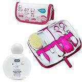 Nuvita Pflege-Set für Neugeborene Girl & CHICCO Baby´s Smell Duftwasser 100 ml ohne Alkohol 100ml ab 0 Monate//Bürste Echter Wolle inkl. Tasche