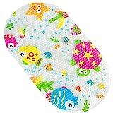 Afufu Badematte Kinder rutschfest, Duschmattem Baby Badewanne Matte Antirutschmatte mit Cute Muster, Sicherheit Badewannenmatten mit Saugnäpfen (69 x 39 cm)