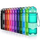 ZOUNICH Trinkflasche Sport BPA frei Kunststoff Sporttrinkflaschen für Kinder Schule, Joggen, Fahrrad, öffnen mit Einer Hand Trinkflaschen Filter, Smaragd, 17oz/500ml