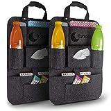 lunalemon ® Autositzorganizer - Organizer Tasche im 2er Set - moderner dunkelgrauer Filzstoff - einfache Befestigung unter dem Autositz - große Taschen zum Verstauen (Grau)