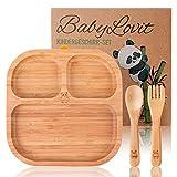 Umweltfreundlicher Kinder & Baby Teller aus Bambus | Mit rutschfestem Saugnapf inkl. Löffel, Gabel & Geschenkbox | Frei von jeglichen Gefahrstoffen