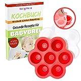 Gefrierdosen zum Einfrieren von Babybrei - Aus Silikon mit Deckel und zu 100% BPA frei - Kühlend + KOSTENLOSES E-BOOK (Rot)