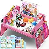 Lenbest Rosa Kinder Reisetisch Kindersitz Spiel und Knietablett Reisetisch, Multifunktional Einstellbar Esstisch Spieltisch Autositz